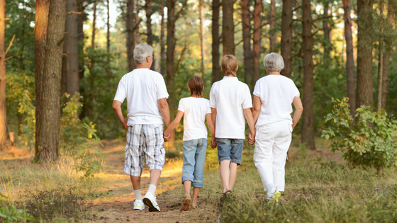 Image: grandparents walking with grandchildren