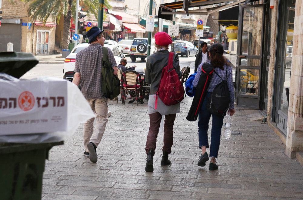 Flanked by Andy Teirstein and Pam Pierto on a street in Tel Aviv Photo by Cari Ann Shim Sham