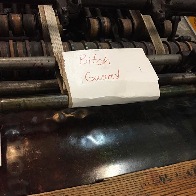 When it take 12 hours to start printing because your press decides to show you every trick she has to make a day terrible. After adjusting about every bolt she has, the final fix is paper and staples. Some 3-D printed parts are in our near future as the final fix. #letterpress #longday #attitudeadjustment #oldmachine #simplefix