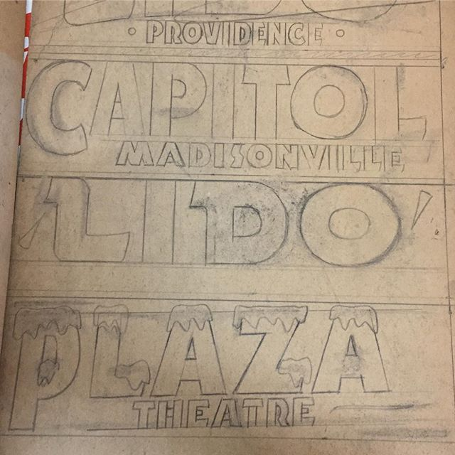 We love looking at these original drawings for some of our theatre mastheads. These would have been used at the top of a poster announcing upcoming shows and movies.#letterpress #mastheadmonday #notamastheadmonday #theatre #handmade #handdrawn #old