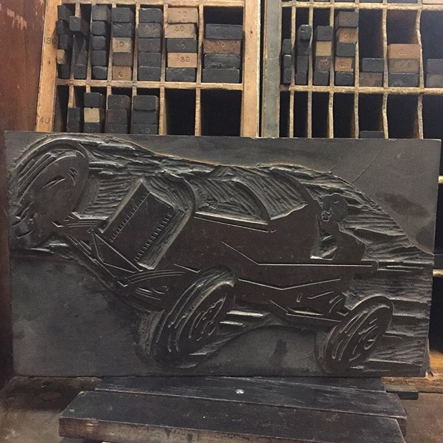 It's mast head Monday! Since it is race week here in Indiana we just had to bring out this race car. The plate that says auto race was damaged at some point and will one day be carved again to complete the set. #letterpress #masthead #mastheadmonday #race #racecar #indiana #indianapolis #500 #indy500 #indianapolis500 #raceweek #poster