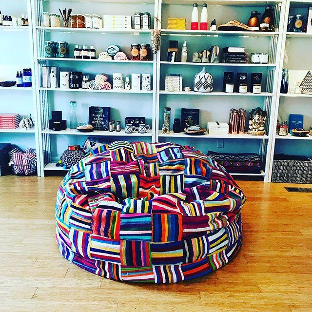 #yummyyogigoods #mandalayoga#amagansett#beanbag#colorful #upcycled #comfortable #fun