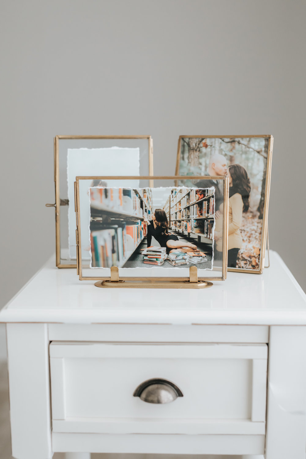 Vintage Brass Frame   Vintage brass frames only come in 5x7 with either a 4x6 print with torn edges (pictured in front) or 5x7 print that fits the total frame (back right).