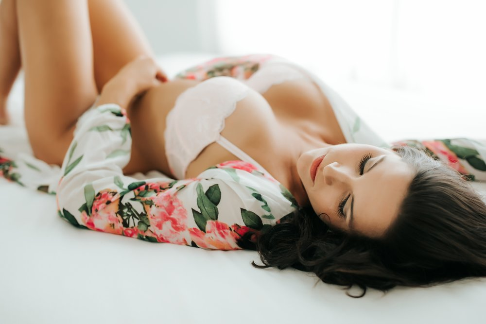 FLORAL ROBE  - Available for use in the studio. Model here is wearing a light pink bra. I think this would look great with white as well.