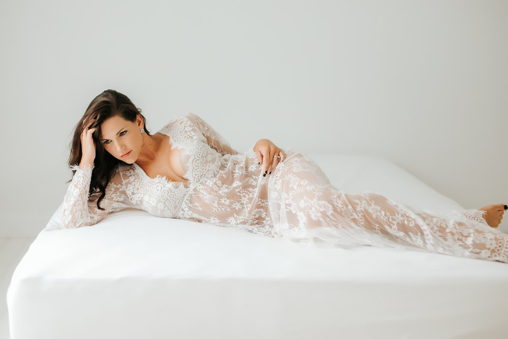 LACE GOWN - Available for use in the studio. Looks best with NUDE bra and panties underneath so you can see the lace. If you wear white, you can't see the lace at all in those areas.