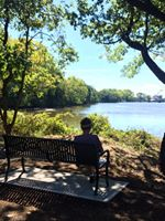 A beautiful view of the river from one of the 3 new benches donated by Five Star Residences of Teaneck.