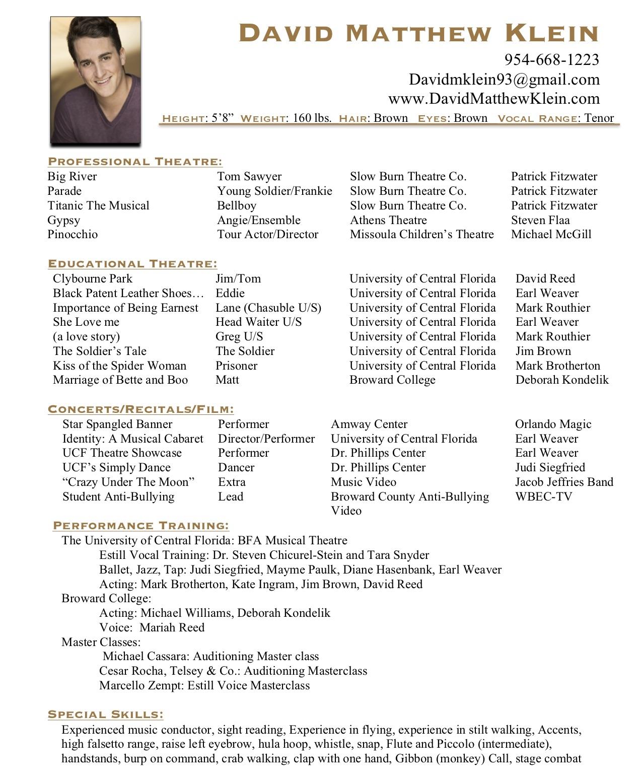 Headshot And Resume David Matthew Klein