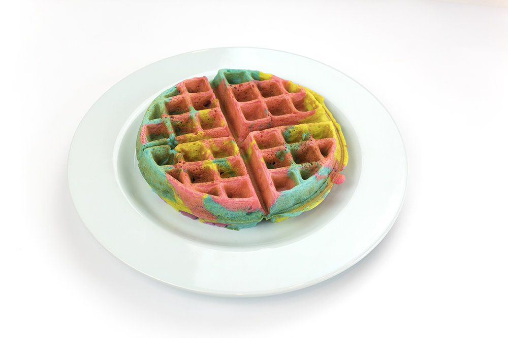 You've got to try this recipe for a Lisa Frank Tie-Dye Waffle Sundae!