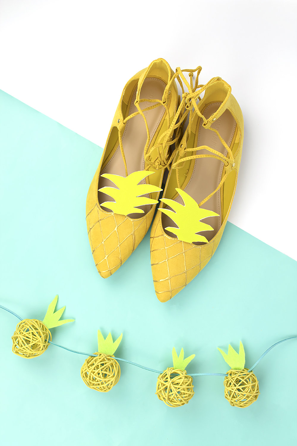 When it comes to summer shoes, I think the quirkier, the better. That's why I am head over heels in love with these pineapple shoes! Click for the DIY. #pineapple #pineapplediy #summercrafts