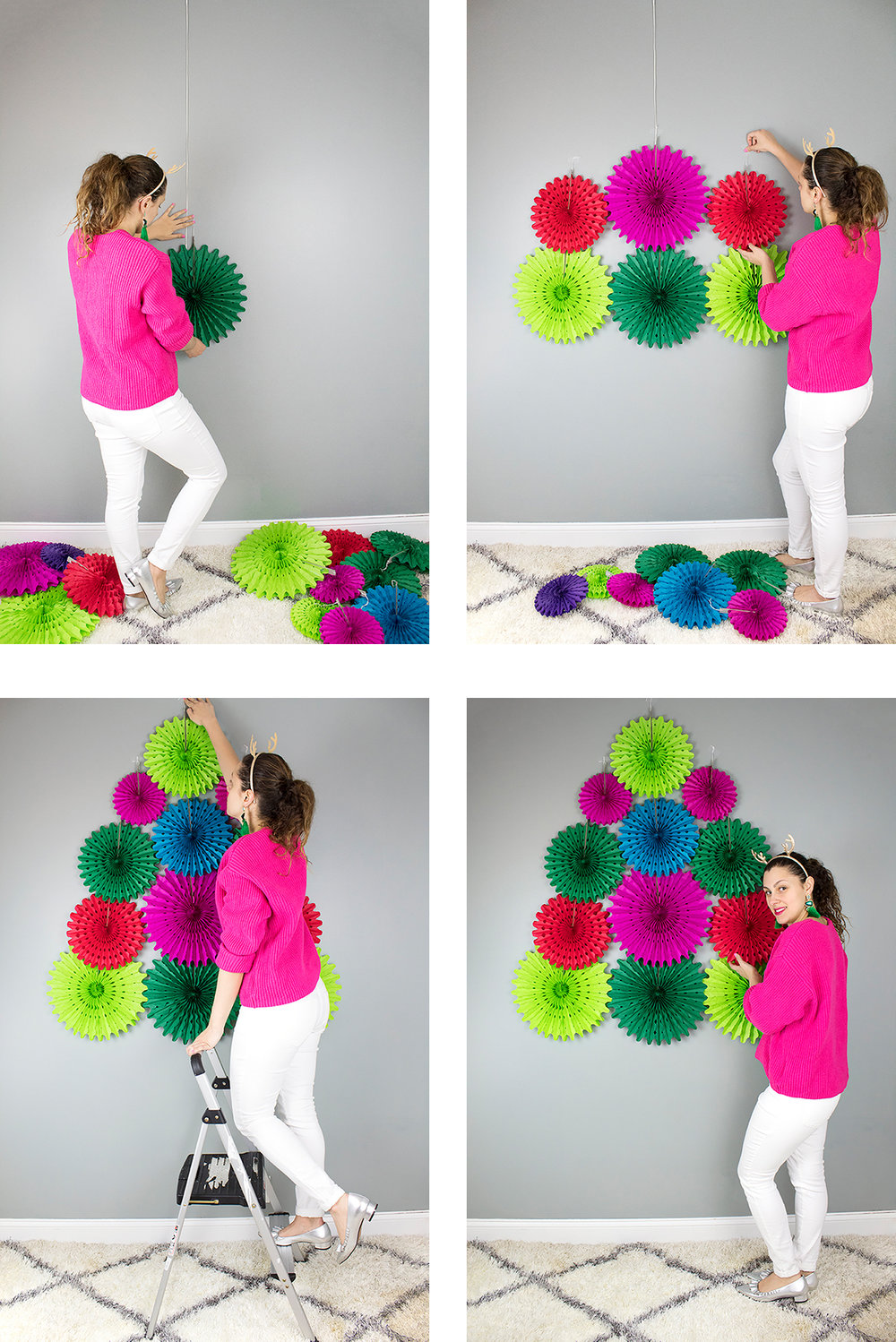 This DIY only takes a few minutes to put up, and it can be used again and again. It would look really cute starting lower and being a photo prop or even as a Christmas tree alternative for a small space.