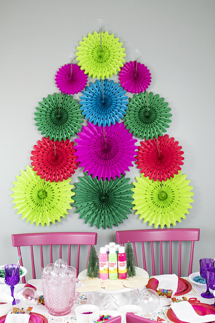 Diy Paper Fan Christmas Tree Party Hardiy