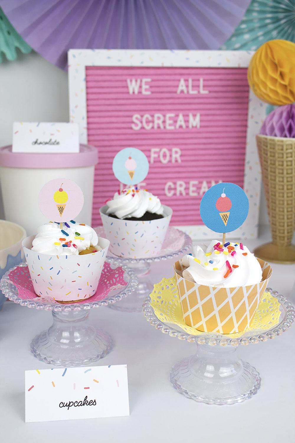 I scream, you scream, we all scream for ice cream! This printable ice cream party is perfect for summer.