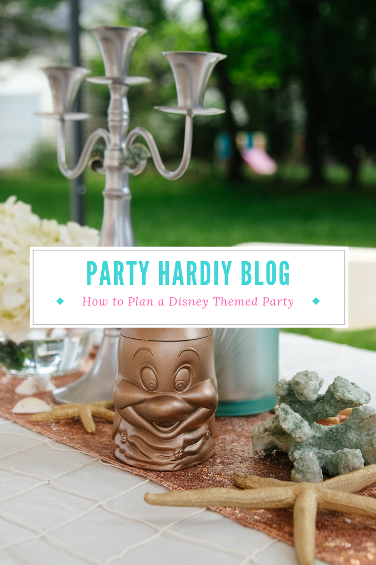 How to plan a Disney themed party, filled with craft projects, links, and decor ideas! Perfect for weddings, engagement parties, and birthdays. Click for the full post!