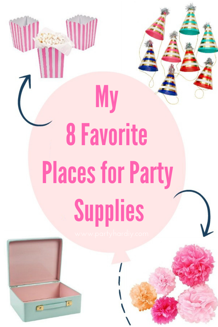 Are you planning a party but don't know where to buy your party supplies? I've got a list of my 8 favorite places to buy affordable party supplies that are also really cute! #partyplanning #partysupplies