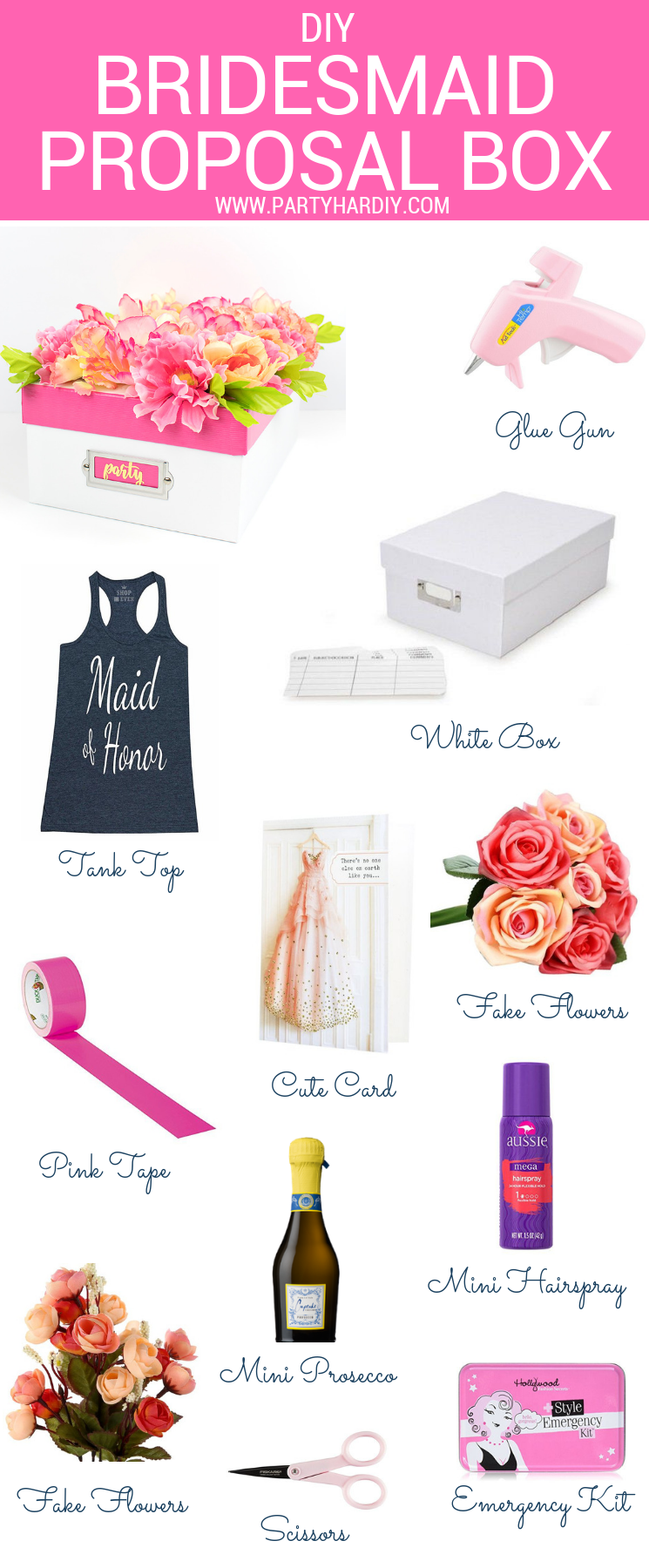 Looking for a unique take on the bridesmaid box? Look no further! This flower box is gorgeous on the outside, and filled with all the things she needs on the inside. Click for the full how-to!