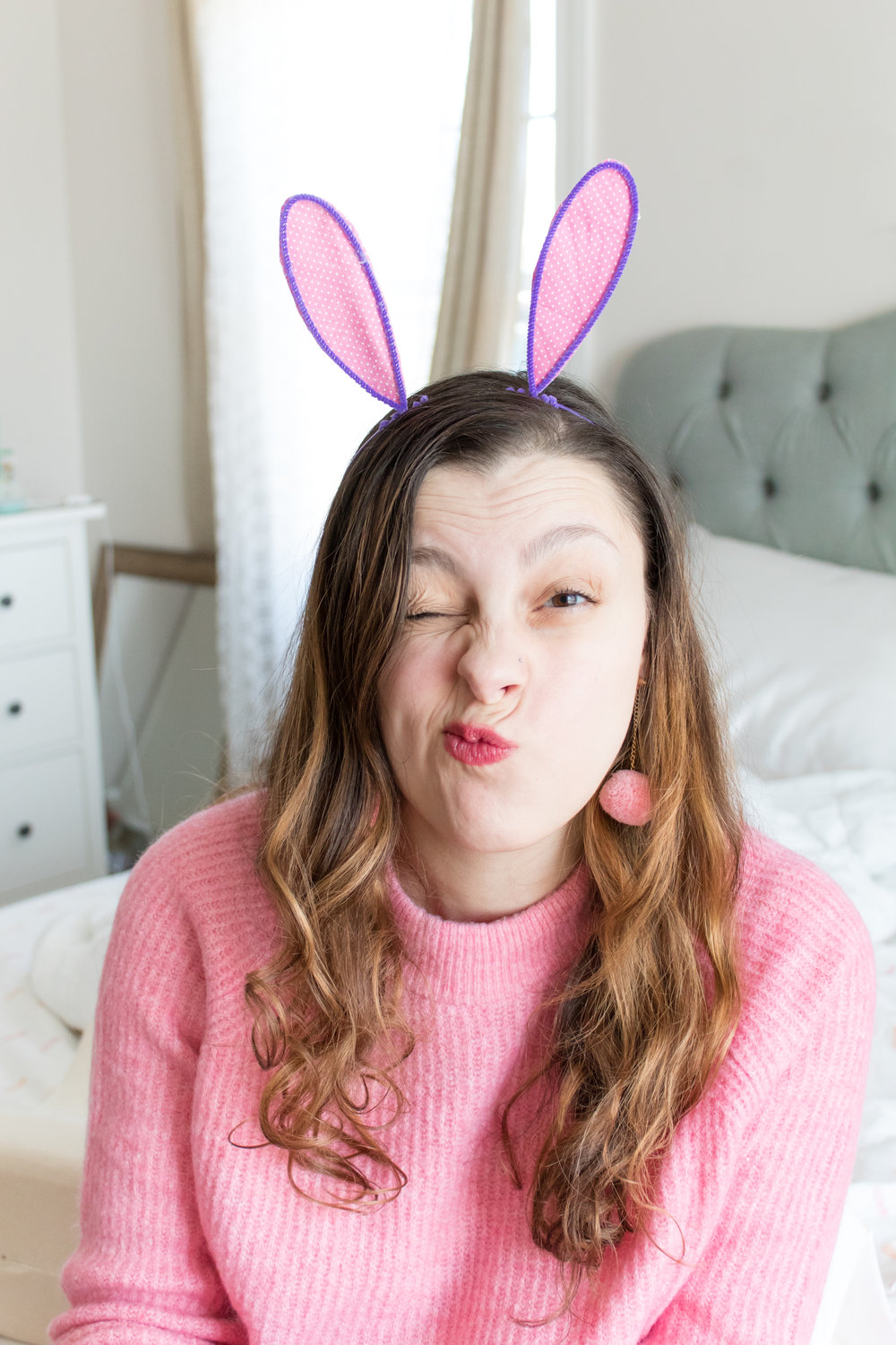 Make these really easy (no sew!) DIY bunny ears headbands just in time for Easter! You probably have all the supplies on hand already! Check out the full DIY now to make a pair for yourself and your family! #eastercrafts #bunnyearsheadband #easterpartyideas
