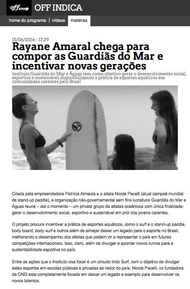 CANAL OFF APOIA GUARDIÃS DO MAR
