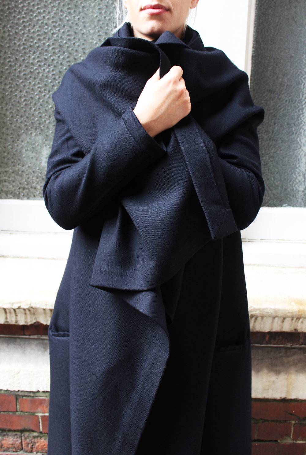 """RUN FOR THE COVER"" -  Angora wool gabardine concept drape+cut  coat"