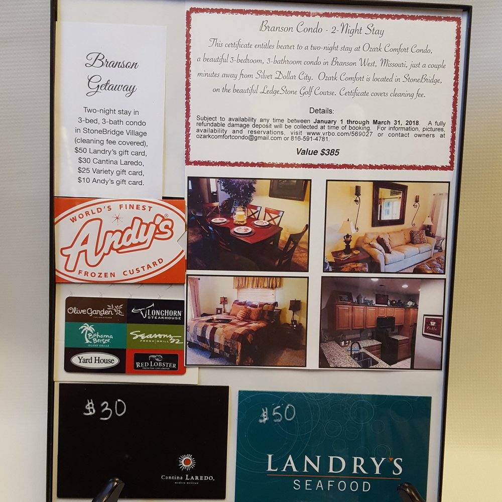 Branson Getaway - Two-night stay in 3-bed, 3-bath condo in StoneBridge Village. Includes gift cards to: Landry's $50, Cantina Laredo $30, Variety gift card $25, and Andy's $10.January 1 - March 31, 2018