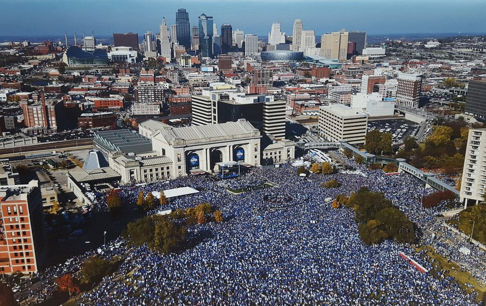 Canvas of KC's Royals WS Celebration - Canvas featuring Kansas City Royals' World Series celebration at Union Station.