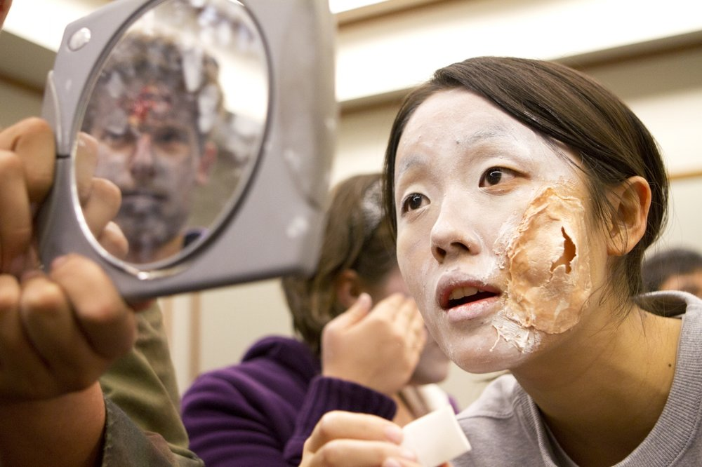 "Preparing for a ""Zombie Walk"" event in Evanston, Illinois, 2012"