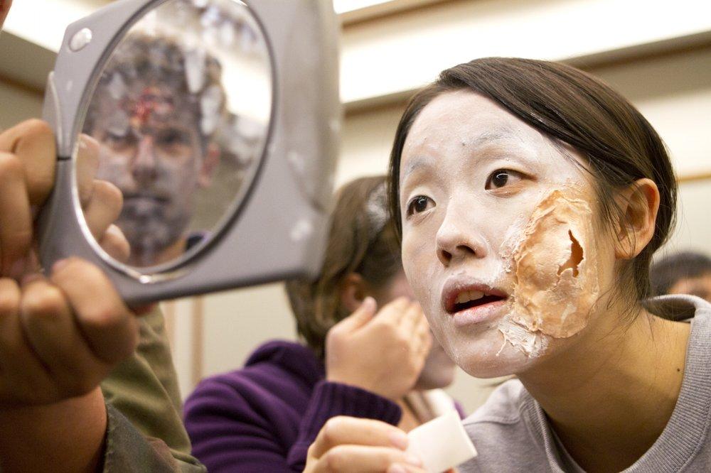 "Preparing for a ""Zombie Walk"" event in Evanston, Illinois, 2012"