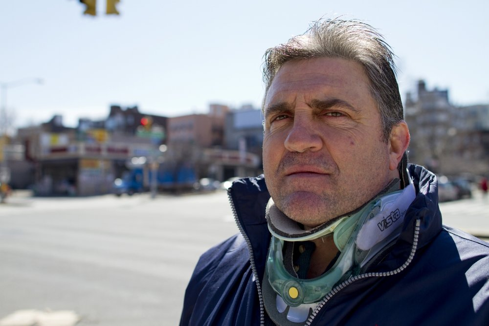 John Longo at the intersection in Brooklyn where he was struck by a car. Shot for  BKLYNR , 2014.