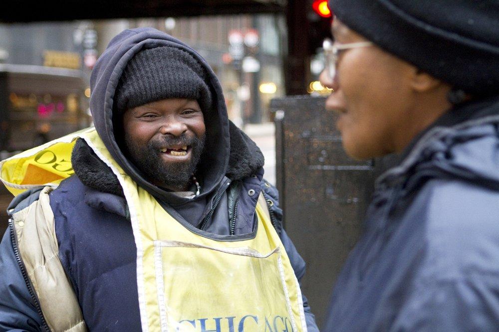 Gino, a  Chicago Sun Times  newspaper vendor, Chicago, 2012.