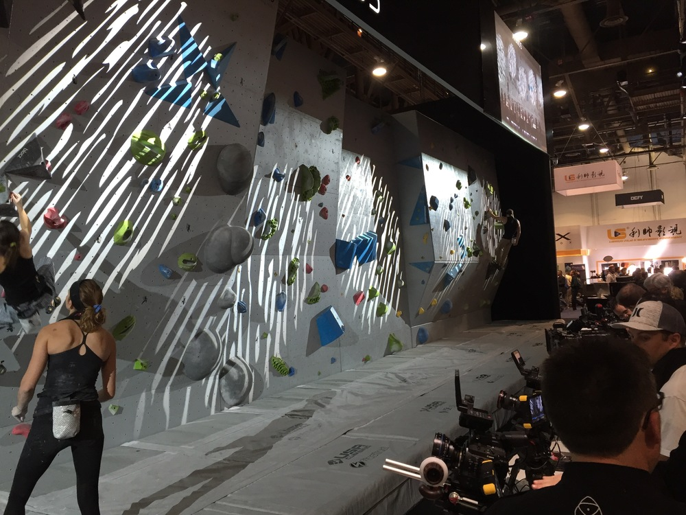 Atomos and their camera/display testing area complete with rock wall and climbers.