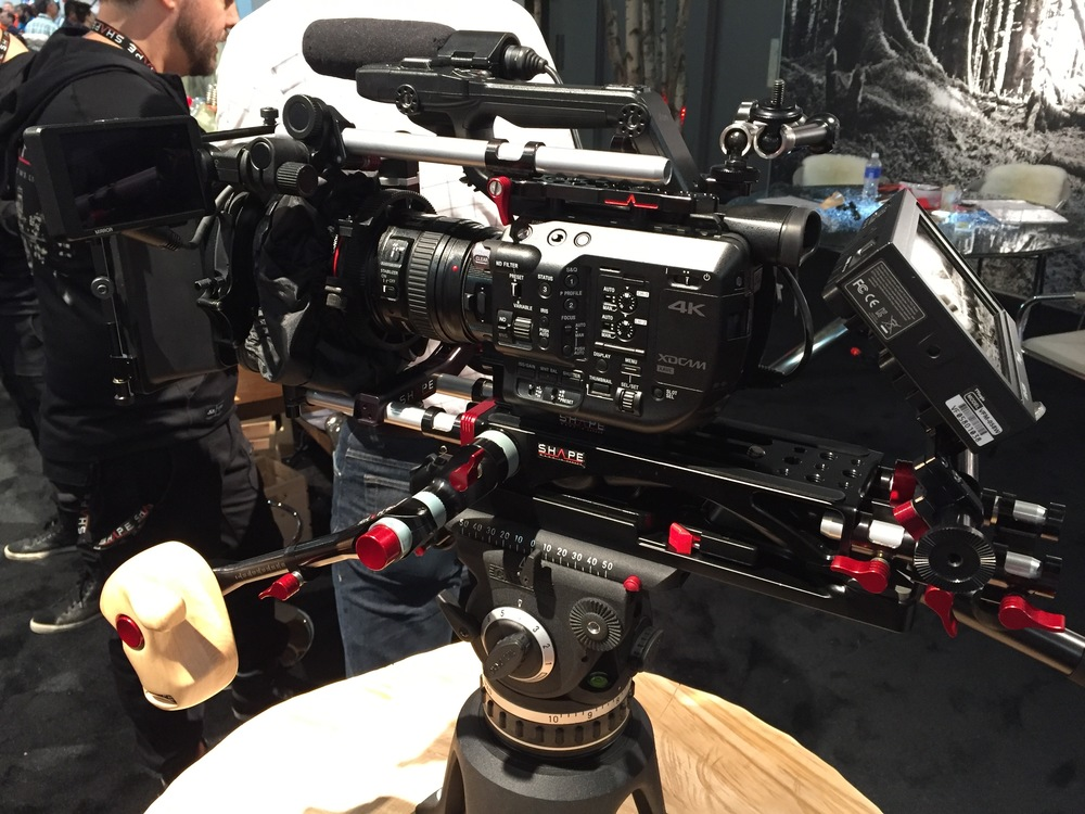 Sony's new FS5 camera with EF lens mount and SHAPE rig.