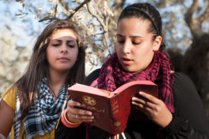 A Palestinian Christian youth reads a Bible text.