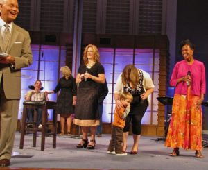 My kid rushed up on stage one Sunday morning at the end of worship service and started picking his nose. Classic.