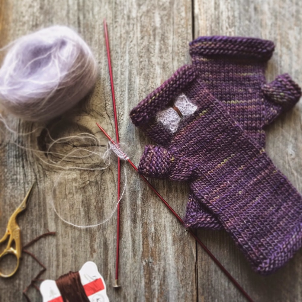 Lady by the Bay - Knitted Fingerless Gloves with Butterflies