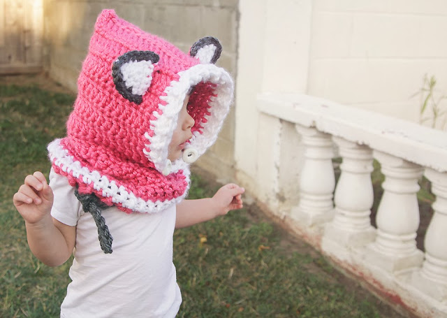 Crocheted Hooded Fox Cowl