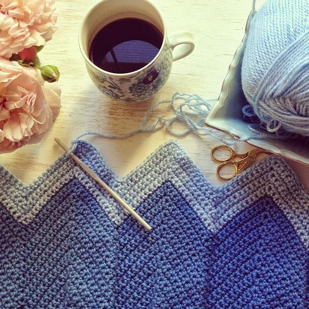 crochet chevron baby blanket progress