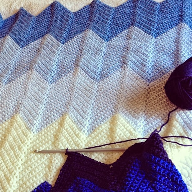 Lady by the Bay - Crocheted Chevron Baby Blanket Pattern