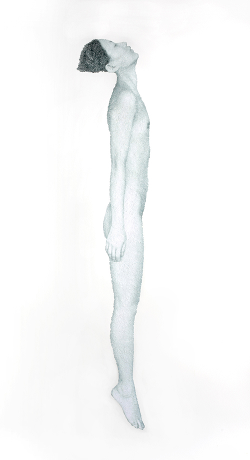 "In between_ blue body, 2012, torn and pasted photo on paper, 80""x51"""