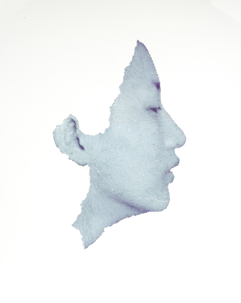 "Blue portrait, 2011, torn and pasted photo on paper, 40""x32"""