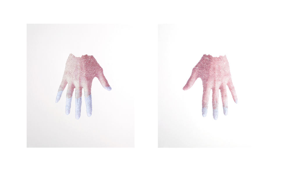 "Right hand, Left hand, 2012, torn and pasted photo on paper, 25""x23"""