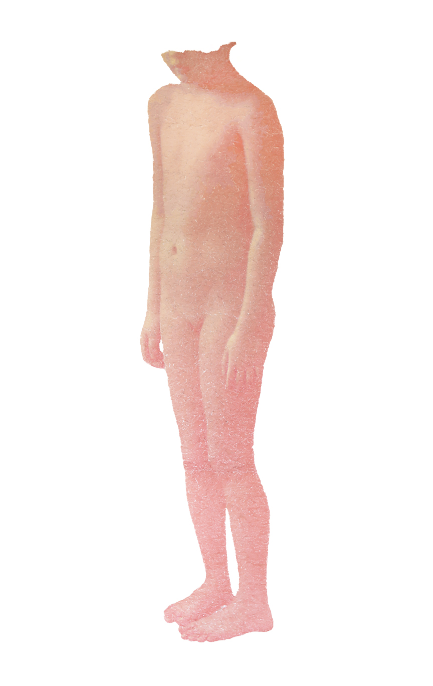 """Standing there, 2015, torn and pated photo on mylar,85""""x42"""""""