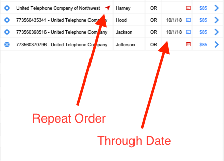 Target Line Features - Whenever a target is added to an order that has already been searched by Boomerang, a link will appear next to the target name providing information about when that target was previously searched. Additionally, each target line now has a through date field for quicker adjustment to the particular county that target was searched in.