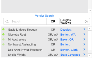 Quick Access to Vendor Information - Once you have selected a vendor in the vendor search field, the system will display all the information of that vendor including: counties covered, contact information, and rating (1 red - 5 green).