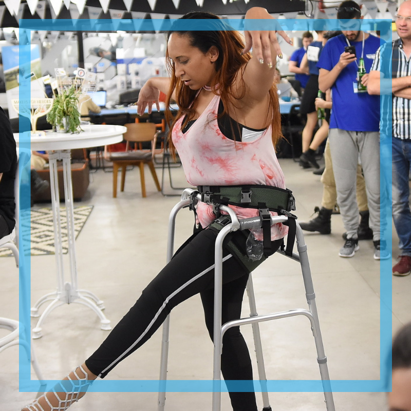 Zarita's team made it possible for her to dance again. They made a stability frame and harness that supports her and is barely noticeable under a long, elegant skirt.