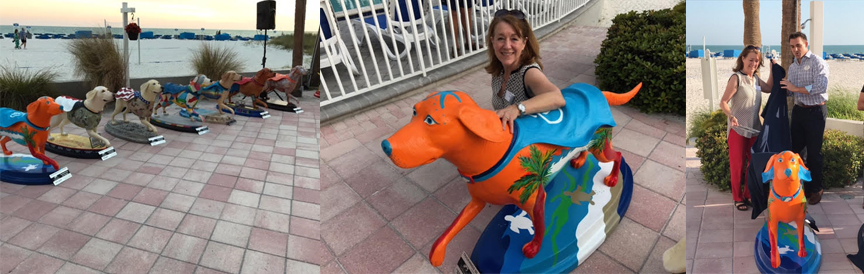 "Elizabeth Fontaine-Barr painted ""Splash"", a bright, colorful dog, which was sponsored by the beautiful TradeWinds Island Resorts on St. Pete Beach."