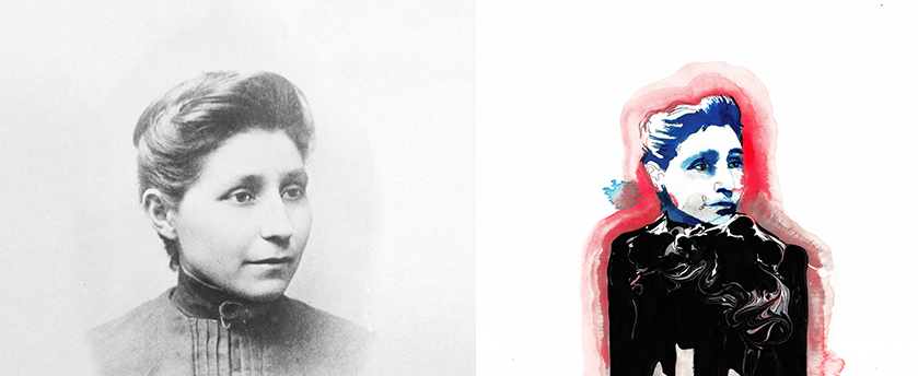 Susan La Flesche Picotte (1865-1915), the first Native American female physician. Archive courtesy of Nebraska State Historical Society. Artwork by Amelie Chabannes.