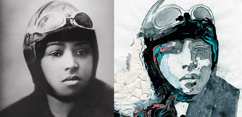 Bessie Coleman (1892-1926), the first African American female aviator. Archive courtesy of NASA. Artwork by Amelie Chabannes.
