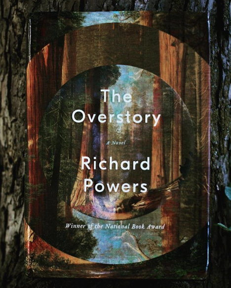 The Overstory  by Richard Powers.  Stand still. Listen, because right now trees are whispering stories they wish you would hear. Tune ears and downshift gears from that hyperrational buzz so that you actually hear their song, for trees are much older and smarter than us, offering moral lessons daily on generosity. That is, if we listen, if we set aside our hunger, intestinal slurries pining for more resources, more prestige, more safety. Cup your ears to canopy moan and leaf twizzle, sounds of ancient neural pathways, governance systems, trade routes. These intelligent bodies teach us to give and forgive, to offer shade to our enemies, to reach up and up only to send gifts down and down. Humans and forests, we sprout from shared trunk, and our task is to come home, a return to forgotten belongings, an inheritance of care. Treetops whisper as they watch us, patiently, crash. Sit still and we might hear their hymns, that we are but one expression of life branching in millions of directions, arms long and elbow-knotted, appearing separate but bound together all the same. It's time we return here, home, and listen for further instructions, which might go something like this: slow down, grow with intent—as much below ground as above—and give, give, give.