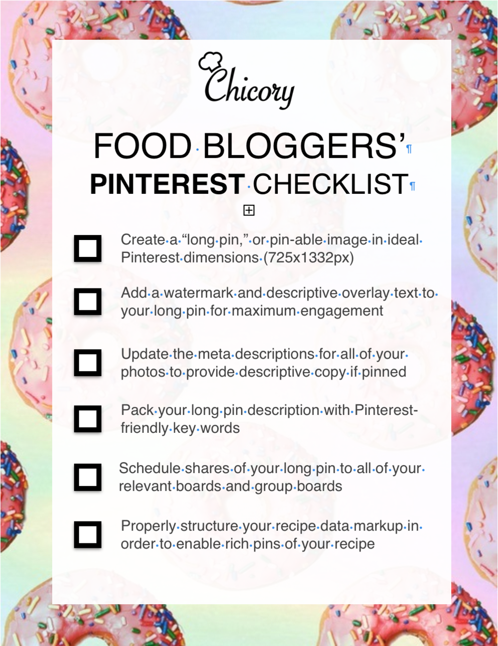 Food Blogger Pinterest Checklist