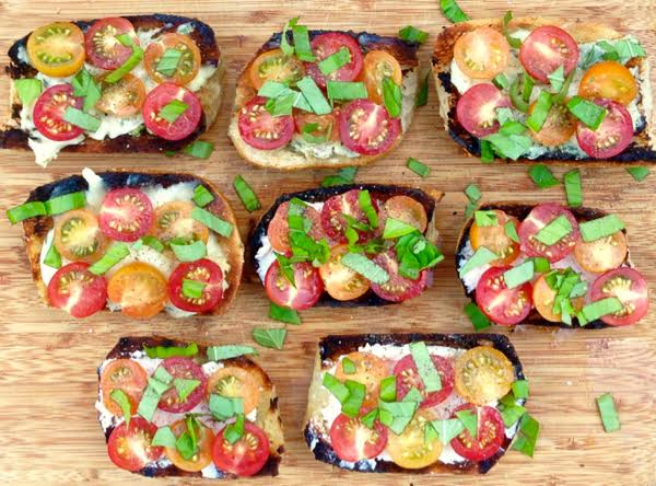 Grilled Bread with Tomatoes and Basil by Lisa Newsome Entertaining is Easy - Chicory Blog