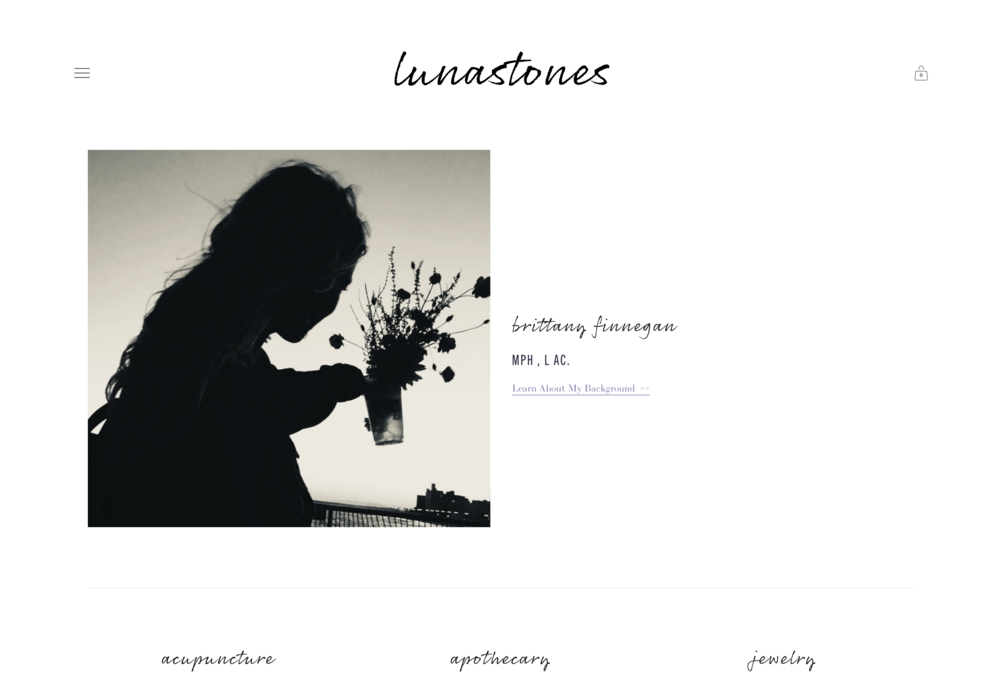 lunastones - brittany finnegan - MPH , L AC. - acupuncture, apothecary, jewelry, divination